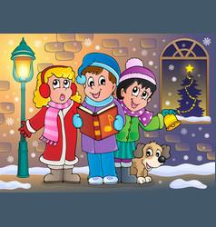 Christmas carol singers theme 5 vector