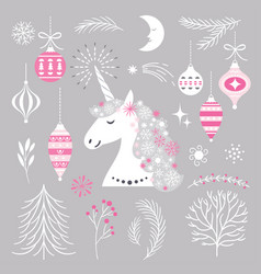 Christmas set with unicorn and design elements vector
