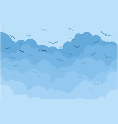 Clouds with birds vector