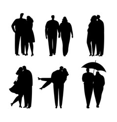 collection of black silhouettes of couples in love vector image