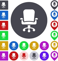 Color swivel chair icon set vector image