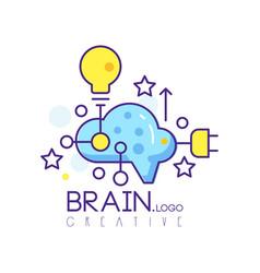 colorful line art logo design with cloud light vector image