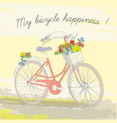 Colorful vintage spring bicycle poster vector
