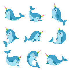 cute cartoon anime unicorn narwhal funny kawaii vector image