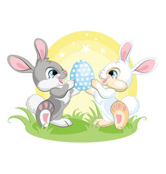 Cute easter bunnies looking at easter egg vector