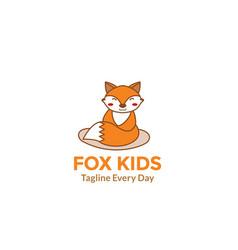 Cute fox cartoon smile and happy for animal vector