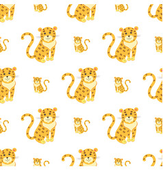 Cute leopards flat seamless pattern vector