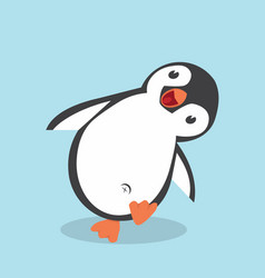 cute penguin cartoon in flat style vector image