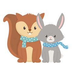 cute squirrel and fox with scarf autumn vector image