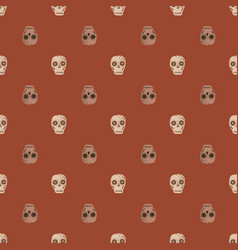 Death seamless pattern with beige colored skull vector