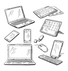 doodle of different devices laptop vector image