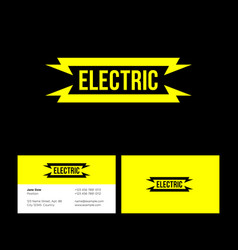 Electric yellow flat logo lightning vector