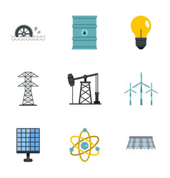 Electricity industry icon set flat style vector