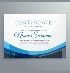 Elegant blue wavy certificate of achievement vector