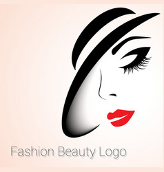 Fashion Beauty Logo Woman with Hat vector image