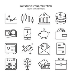 Finance and money icon set in line style vector