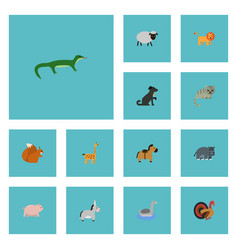 Flat icons chipmunk pony gobbler and other vector
