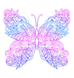 Floral hand drawn butterfly vector