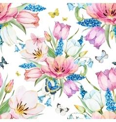 Gentle spring floral raster pattern vector