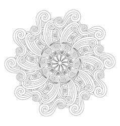 Graphic Mandala with waves and curles Zentangle vector