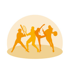Group athletic people practicing sports vector