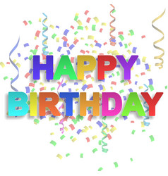 happy birthday paper sign with confetti vector image