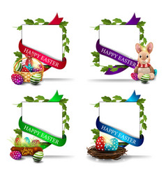happy easter collection postcards with easter vector image