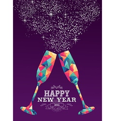 Happy new year 2016 glass triangle hipster color vector image
