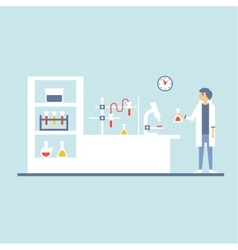 Healthcare Laboratory Testing Room Flat Design vector