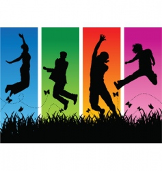jumping people silhouettes vector image