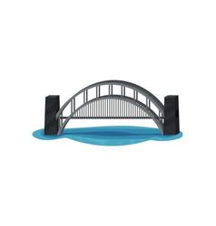 large metal bridge over blue river modern vector image