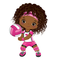 Little african american girl playing volleyball vector