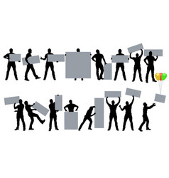 male silhouette with banner in set vector image