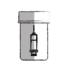 Medicine bottle with injection isolated icon vector