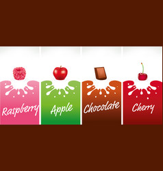 milk splash with raspberry apple chocolate vector image