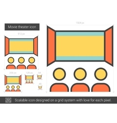 Movie theater line icon vector image vector image