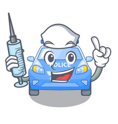 nurse police car in the shape character vector image