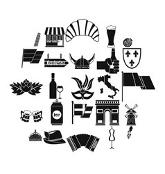 old europe icons set simple style vector image