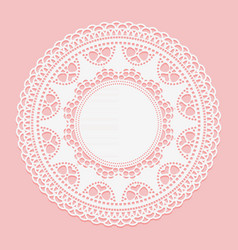 openwork white doily lace frame circle white vector image