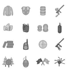 Paintball icons set black monochrome style vector