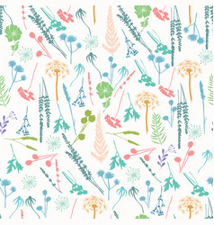 Pattern with wild flowers fern leaves lavender vector