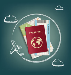plane flies around passport with ticket and map vector image