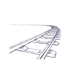 Railway going forward 3d vector