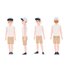 Redhead teenage boy teen or teenager wearing cap vector