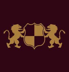 royal crest two lions holding shield emblem vector image