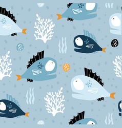 seamless pattern with creative and colorful fishes vector image