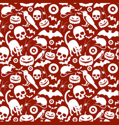 seamless red halloween pattern vector image