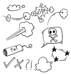 set doodle comic elements cartoon isolated vector image