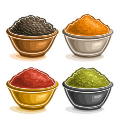 Set indian spices in bowls vector