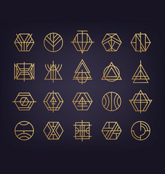set of abstract geometric logos art deco vector image